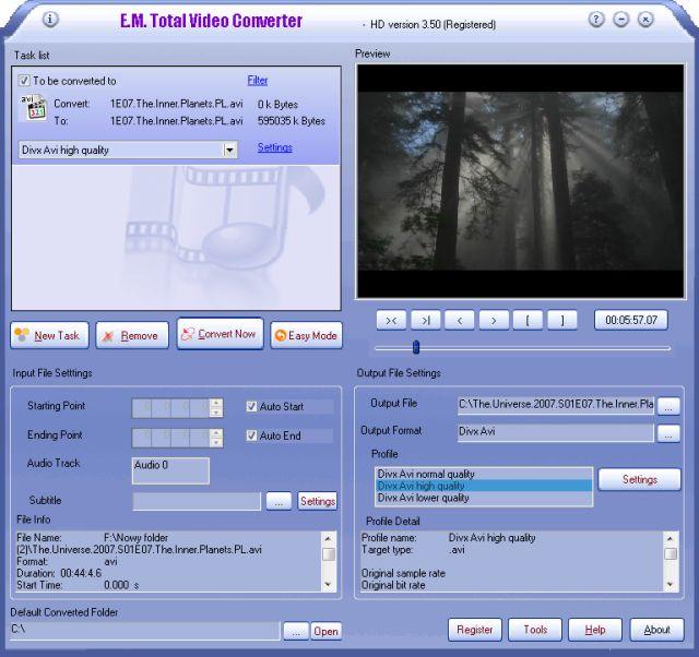 Total Video Converter (TVC) có thể convert các định video, có thể ghép ph..